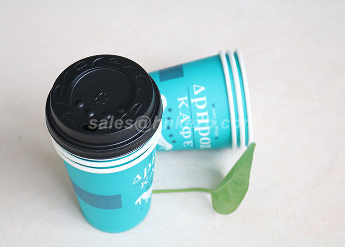 Blue Disposable Paper Cups Drinking Tea / Coffee for Wedding and Meeting
