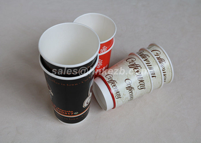 16oz Double Wall Paper Cups For Hot Drinks , Disposable Coffee Cups For Wedding
