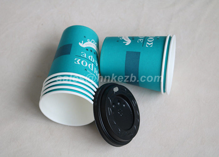 PLA Blue Disposable Paper Cups , Insulated Paper Coffee Cups With Lids